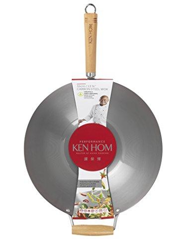 KEN HOM Carbon Steel Wok - Asian Stir Fry Pan with Helper Handle - 13.75'', Silver by Ken Hom