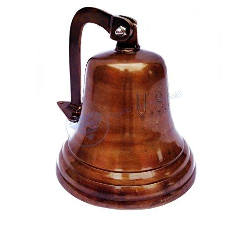 Nagina International U.S Navy Engraved Aluminum Antique Polished Metal Nautical Bell | Premium Ship's Decor | Navy Gift