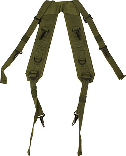 (Olive Drab Combat H Style LC-1 Military Suspenders Load Bearing Harness Backpack Straps)