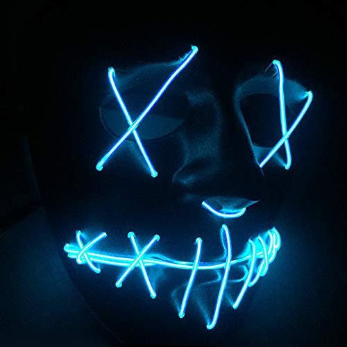 TECHLINK Light up Purge Mask Horror Party Mask Creepy Glowing Masks LED Cold Light Mask Scary Masquerade Party Creative Style Cosplay -