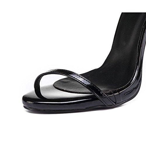 Sandalias Corbata cm 11 Black de Tacón Verano DE de Cuerda Ximu Pluma de Sexy Boda Alto Zapatos Bomba Nueva FwHARq4