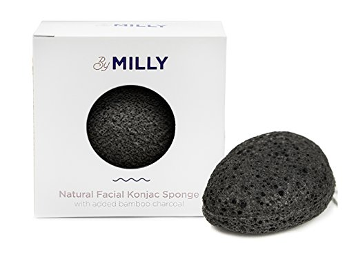 100% Natural Facial Konjac Sponge with Activated Bamboo Charcoal. Gentle Exfoliator for All Skin Types. Eco-Friendly and (Natural Exfoliator)