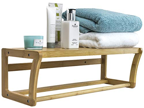 Sorbus Bamboo Wall Shelf Towel Bar, Wall Mounted Towel Rack with Shelf Storage for Bath & Household Items, Great for Bathroom, Spa, Sauna, and More, Wooden Scandinavian Style