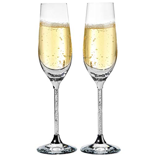 Matashi Set of 2 Champagne Flutes With Lead Free Titanium Crystal Sparkling, Long Stem Glasses, 8oz, 10-inch Tall – Crystal Filled Glassware- The Perfect Gift For Parties & Special Celebrations -