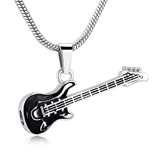 (memorial jewelry Musical Instrument Cremation Necklace for Women&Men Guitar Urn Necklace for Ashes)