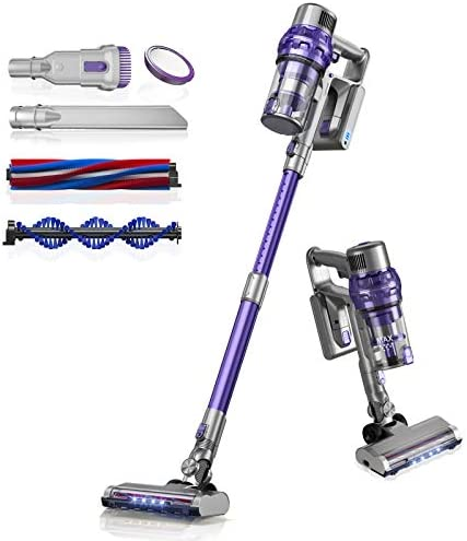 Laresar Cordless Vacuum Cleaner,26Kpa Powerful Suction Stick Vacuum,Lightweight Handheld Vacuum for Hard Floor Carpet Pet Hair,30Min Running,Rechargeable Battery,Purple(Elite 1)