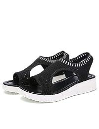 SSLOPY& Women Summer Shoes Peep Toe Flat Sandals Ladies Breathable Air Mesh Platform