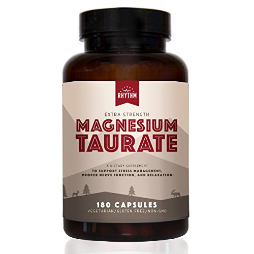 Magnesium Taurate - 200mg of Magnesium Taurate for Heart Health, Optimal Relaxation, Stress and Anxiety Relief, and Improved Sleep. 180 Capsules. (Best Magnesium For Heart Health)