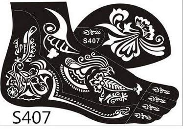 Henna Stencils 6pairs=12pcs Henna Tattoo Stencil Tattoo Paste Temporary Reuse Henna Tattoo Template Foot Painting Art Both Foot 16 Model Choose by Henna Stencils