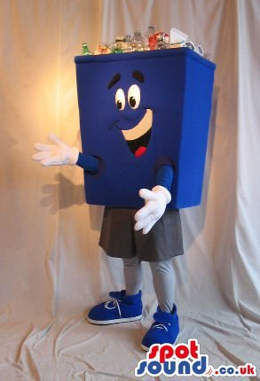 [Cute Blue Trash Can Or Recycling Box Plush SPOTSOUND US Mascot Costume With Bottles] (Recycle Bin Costume)