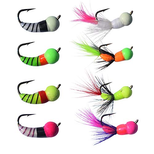 - Kenders Outdoors Ice Fishing Jigs - Akua Tungsten Jig Series 8 Pack (3.8mm Bead - #12 Hook)