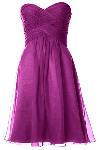 MACloth Women Pleated Chiffon Short Bridesmaid Dress Wedding Party Gown Fuchsia