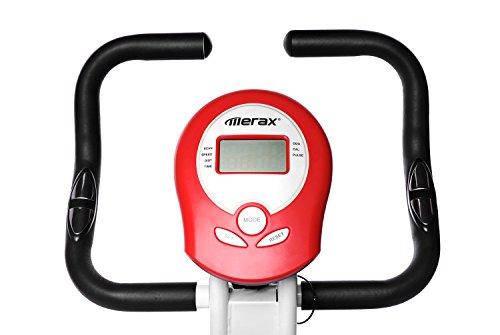 Merax Folding Adjustable Magnetic Upright Exercise Bike Fitness Machine (Red)