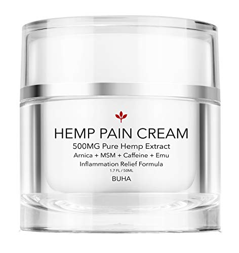 Premium Hemp Pain Relief Cream - Pure 500mg Extract - Relieves Muscle, Back & Joint Pain - Reduces Soreness & Inflammation, All Natural Arnica + MSM + Caffeine + Tea Tree - Made in The USA, 50ML.