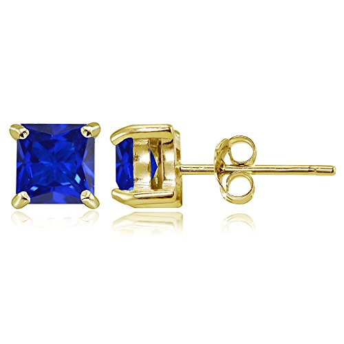 Yellow Gold Flashed Sterling Silver Simulated Blue Sapphire 5mm Princess-cut Stud Earrings (Amethyst Sapphire Stud)