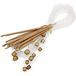 Crazyo 1 Set 12 Sizes Bamboo Crochet Hooks Knitting Needle Kit 3-10mm Weaving Tools Set