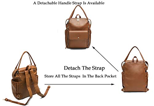 Diaper Bag Backpack by Miss Fong,Baby Bag,Backpack Diper Bag With Changing Pad,Large Capacity, In Bag Organizer, Stroller Strap, Insulated Pockets-Love and Peace(Brown)