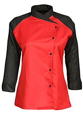 3/4 Contrast Sleeves Women's Ladies Chef's Coat Jackets By Chef Apparels