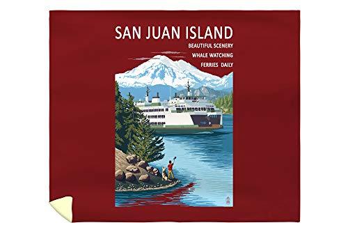 Lantern Press San Juan Island - Boy Waving at Ferry 32391 (88x104 King Microfiber Duvet Cover)
