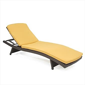 Wicker Lane Wicker Adjustable Chaise Lounger with Cushion