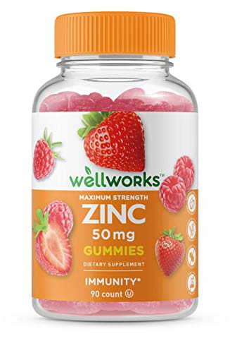 WellWorks Zinc 50mg Gummies - Great Tasting Natural Flavor Gummy Supplement - Gluten Free Vegetarian GMO-Free Chewable Vitamins – for Healthy Immune Support – for Adults, Man, Women – 90 Gummies