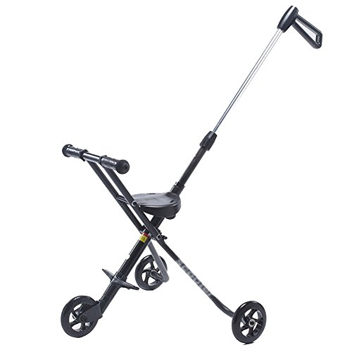 Tricycle Children's Trolley Baby Folding Trike Simple 3 Wheel Bike 2-6 Years Old Kid's Car (Black)