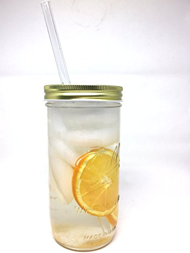 Glass Mason Drinking Jars with 2 Gold Lids, 2 Glass Straws (10''x 9.5mm) and 1 Straw Cleaner (24oz wide mouth, gold) (2) by Variety (Image #3)