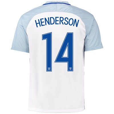 wholesale dealer f74ed e04aa England Home Shirt 2016 with Henderson 14 printing: Amazon ...