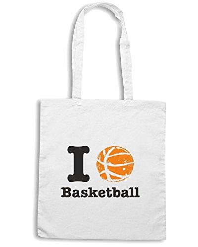 T-Shirtshock - Bolsa para la compra T0234 i love basketball Blanco