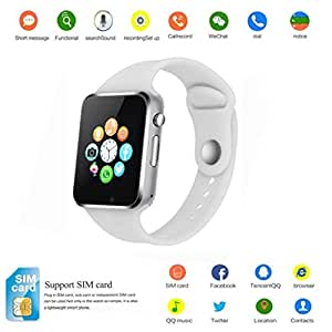 2018 Newest Smart Watch PLYSIN Bluetooth Smartwatch Unlocked Watch Cell Phone with Sim Card Slot Track Activity Watch with Pedometer Camera Music-Player for iOS iPhone Android Samsung (White)
