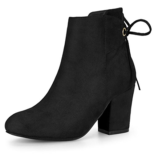 Allegra K Women's Round Toe Block Heel Ankle Boots Black