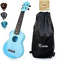 Kmise 21 Inch Soprano Ukulele for Kids Adult Beginners Toys Gift Ukelele with Gig Bag Picks String (Light Blue