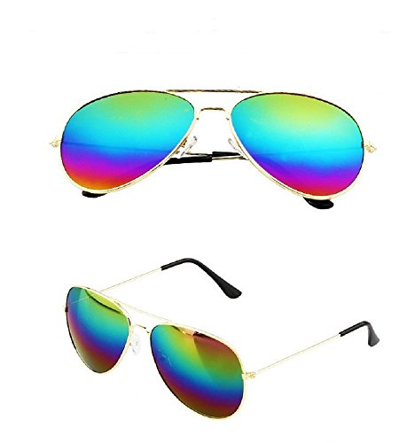 Retro Aviator Sunglasses Mirror Eyewear UV400 (Mirror, Amazing - Sunglasses Mirror Rainbow