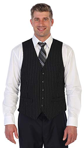 Vest Pinstripe Black - Gioberti Men's 5 Button Formal Wool Blend Tweed Pin Stripe Vest, Black, Large