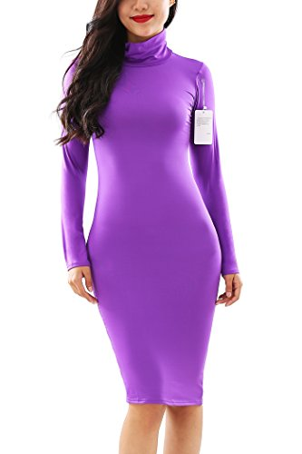 Comfy Sexy Slim Fit Sleeve Dress YMING Purple Bodycon Long Women Dress Turtleneck S5Ywg