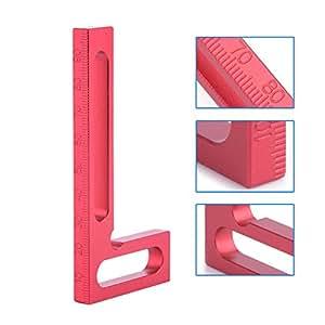 100mm Aluminium Alloy Precision Woodworking L-Square Ruler, Walfront Mini Clamping Red Square 90 Degree