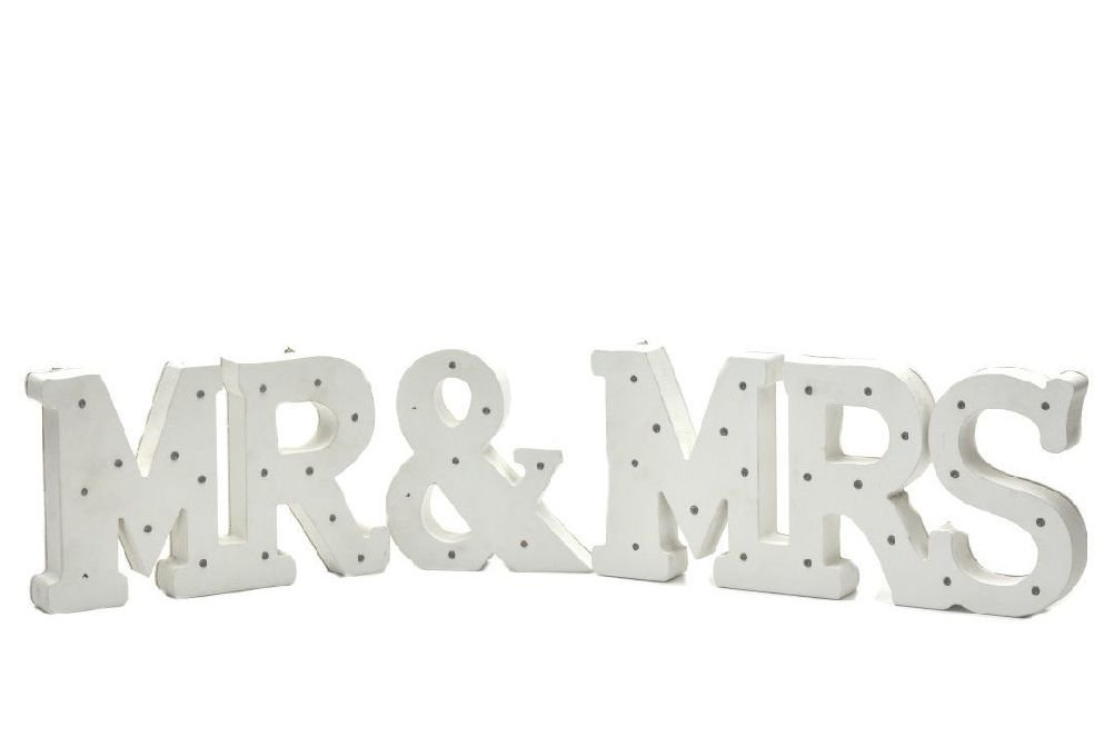 Iceワシントン州ホームシリーズ装飾エレガントな木製LED LettersライトMr & Mrsセット B07D9L1Y1H