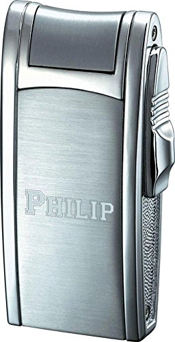 (Visol Personalized Cole Silver Brushed & Polished Torch Flame Lighter with Free Laser Engraving)