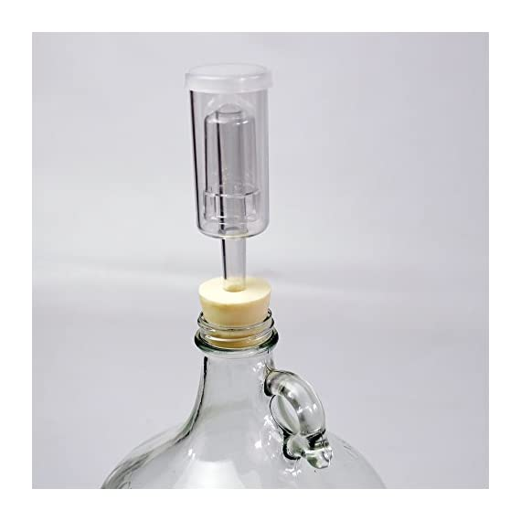 Three-Piece Airlock and Drilled #6 Stopper Fermentation Beer Making Wine Making Kombucha Fits Gallon Jugs (1) 1 3 PIECE AIRLOCK - ferment your beer with no worry of contamination. SILICONE STOPPER - tight-fitting stopper makes fermentation easy and clean. Includes 1 airlock and 1 stopper