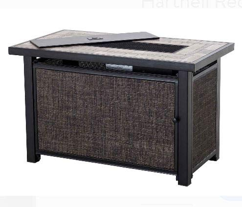 Jar Outdoor- Gray Steel Mosaic Tile Table Top Rectangular-Firepit Table for Outside-Portable Propane Fire Pit-Cozy Fire Ambiance for Nights Spent at Your Patio