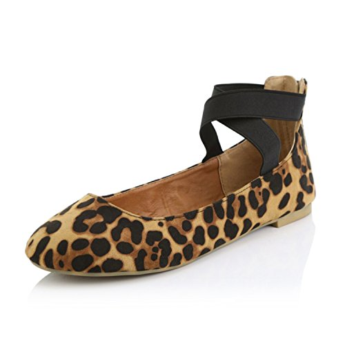 DailyShoes Women's Classic Flats Comfortable Criss Cross Elastic Band Round Flat Slip-On Loafer Sneaker Shoes-Ideal for Casual Occasions Walker-05 Camel Leopard SV7.5