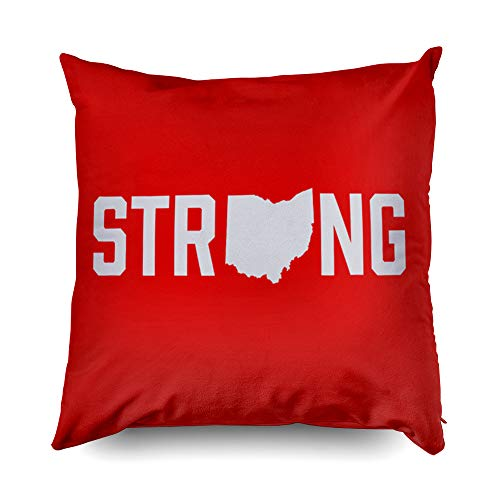 State Case Printed Pillow Ohio - TOMWISH Hidden Zippered Pillowcase Ohio State Strong Accent 18X18Inch,Decorative Throw Custom Cotton Pillow Case Cushion Cover for Home Sofas,bedrooms,Offices,and More