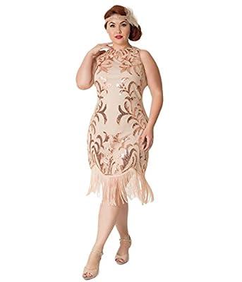 Unique Vintage Plus Size 1920s Rose Gold Sequin Nikita Flapper Dress