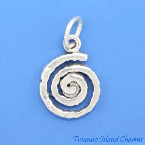 Sterling Silver Spiral Pendant - Swirl Spiral Native American Indian Petroglyph 925 Solid Sterling Silver Charm Crafting Key Chain Bracelet Necklace Jewelry Accessories Pendants