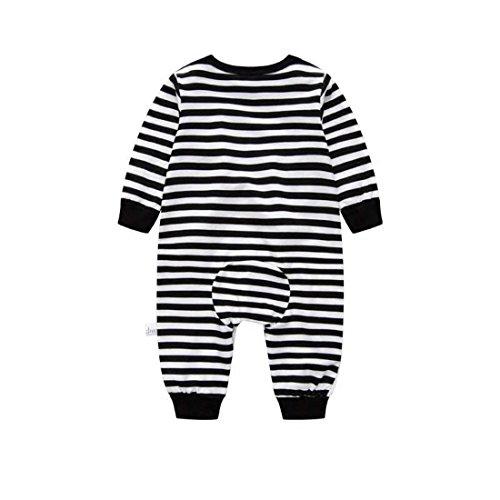 Luckyauction Baby Boys Girls Long Sleeve Stripe Penguin One-Piece Romper Blk/White,0-3M