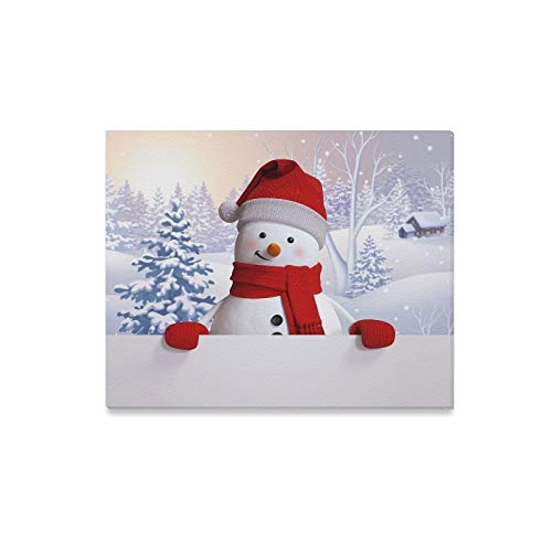 JTMOVING Wall Art Painting Snowman Holding Blank Card Winter LandscapePrints On Canvas The Picture Landscape Pictures Oil for Home Modern Decoration Print Decor for Living Room
