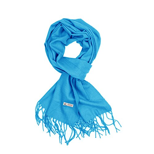 Plain Solid Color Cashmere Feel Classic Soft Luxurious Winter Scarf For Men Women (Sky ()
