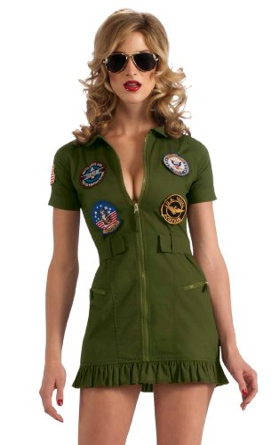 Secret Wishes US Navy Top Gun Flight Dress, Green Khaki, Medium