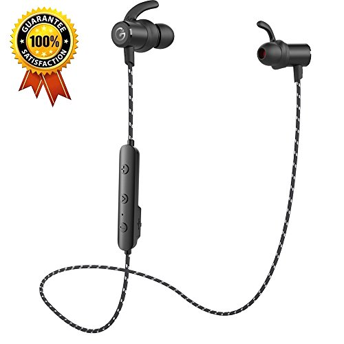 Wireless Headphones ,GEVO Sports Bluetooth Earphones( IPX6 Sweatproof, Super Bass , 8 Hours Play Time) Secure Fit for Gym jogging and Workout,In ear Earbuds with Mic for iPhone X Huawei p10etc.- Black