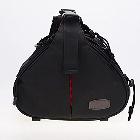 Goodao Triangle Shape Tscope Sling Shoulder Cross Digital Camera Bags Case Soft Bag with Rain Cover for Canon for Nikon for Sony Color : Orange Black Size: 332417cm
